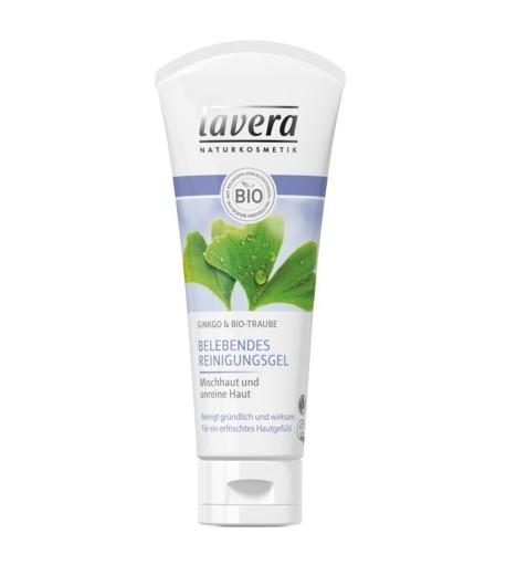 Rozjaśniający żel do mycia twarzy z miłorzębem japońskim i bio-winogronem - Lavera 100 ml