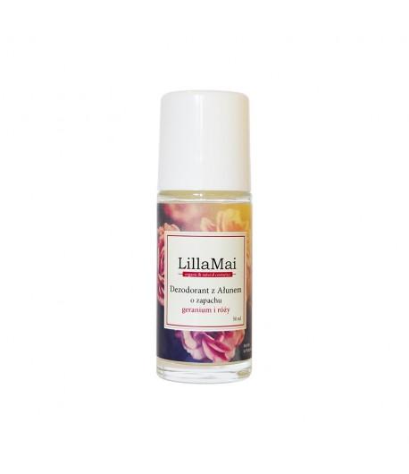 Naturalny dezodorant z ałunem o zapachu geranium i róży - Lilla Mai 50 ml