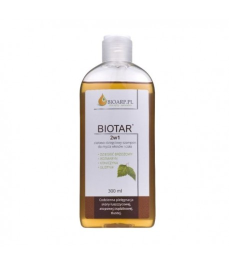 2w1 ziołowo - dziegciowy szampon do mycia włosów i ciała - Biotar 300 ml