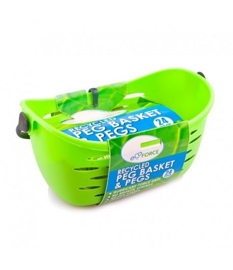 Eko koszyczek na spinacze do bielizny wyprodukowane z tworzywa z recyclingu + 24 spinacze - EcoForce