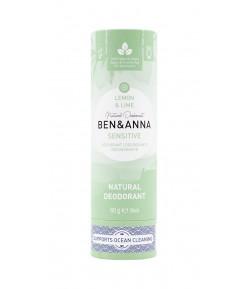 LEMON & LIME SENSITIVE Naturalny dezodorant bez sody - sztyft kartonowy - BEN&ANNA 60g