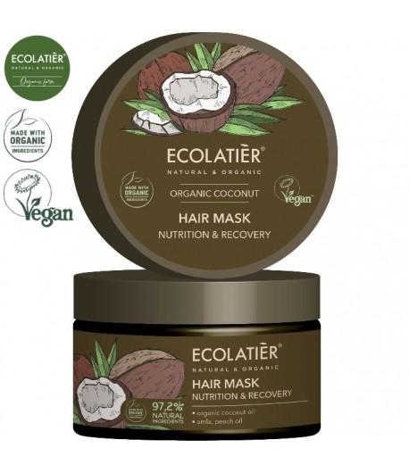 Maska do włosów z organicznym kokosem Odżywienie i Odnowa - ECOLATIER 250 ml