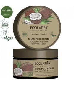 Szampon - peeling do skóry głowy i włosów z organicznym kokosem Głębokie Oczyszczenie - ECOLATIER 250 ml